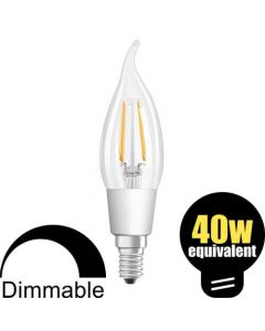 Osram LED Bent Tip Candle 4.5w (=40w) SES Clear DIM
