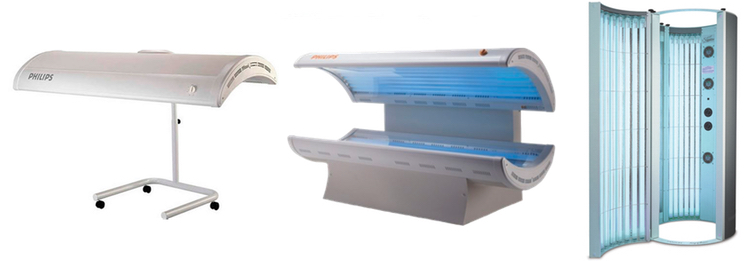 Canopy sunbed, Laydown sunbed, Stand-up Sunbed
